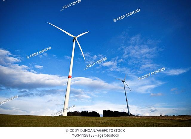 Wind turbines in Bavarian farm field, Franconia, Germany