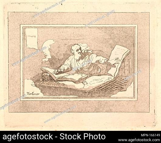 The Philosopher (Bearded Old Man Copying Book). Series/Portfolio: Imitations of Modern Drawings; Artist: Thomas Rowlandson (British