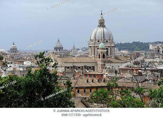 View of rooftops and domes in Rome