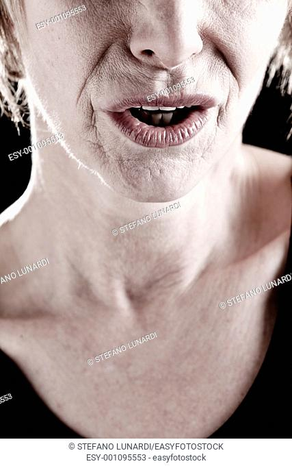 Close-up of a Senior Woman Mouth, actress on stage