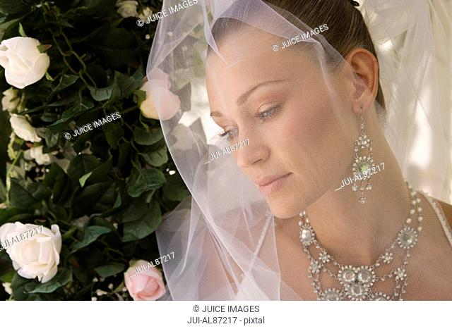 Close up of bride wearing veil