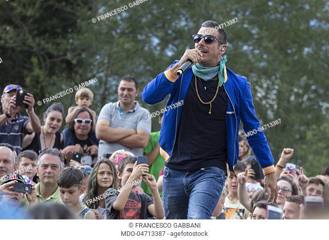 "Italian singer Francesco Gabbani performs at the """"Radio Bruno Estate 2017"""". Modena, July 25, 2017"