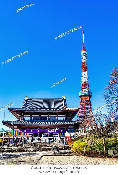Japan, Tokyo City, Mamamatsucho area, Zojoji Temple and Tokyo Tower