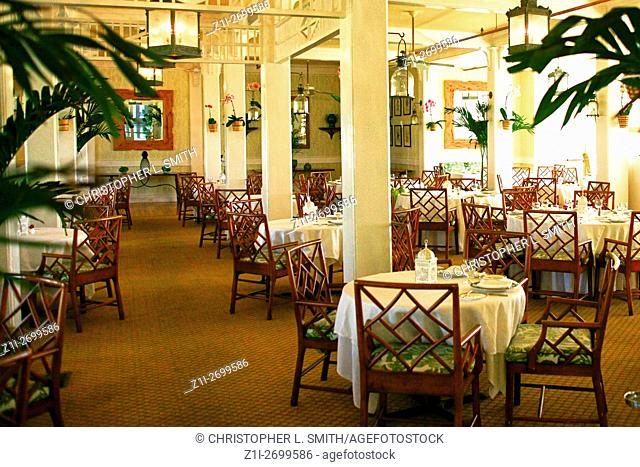 The formal Dining Room inside the Gasparilla Inn & Club, Boca Grande, on Gasparilla Island, Florida