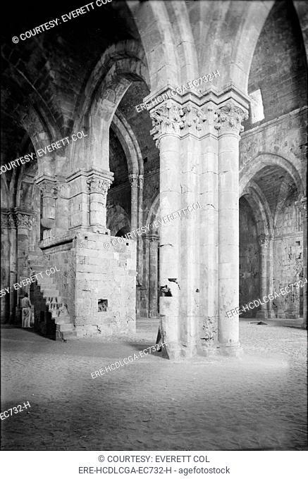 Tartous, the Crusader cathedral, interior, Syria, circa 1936