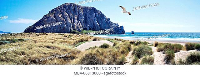 California, Pacific coast, Morro Bay, Morro Rock, dunes