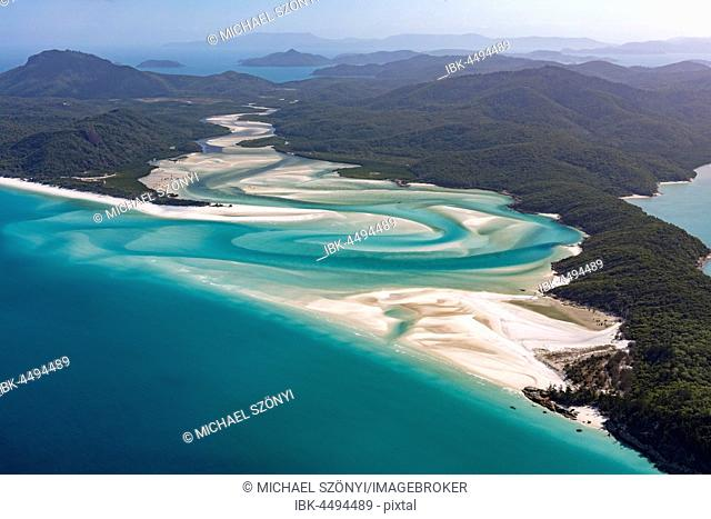 Whitehaven Beach and Hill Inlet river meanders, Whitsunday Islands, Queensland, Australia