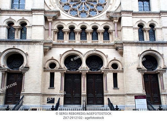 The Eldridge Street Synagogue, built in 1887, is a National Historic Landmark synagogue in Manhattan's Chinatown neighborhood