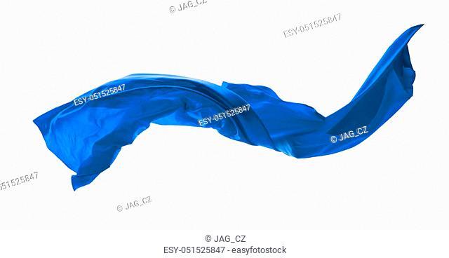 Smooth elegant blue satin cloth isolated on white background