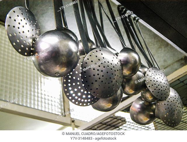 Cookware in restaurant kitchen