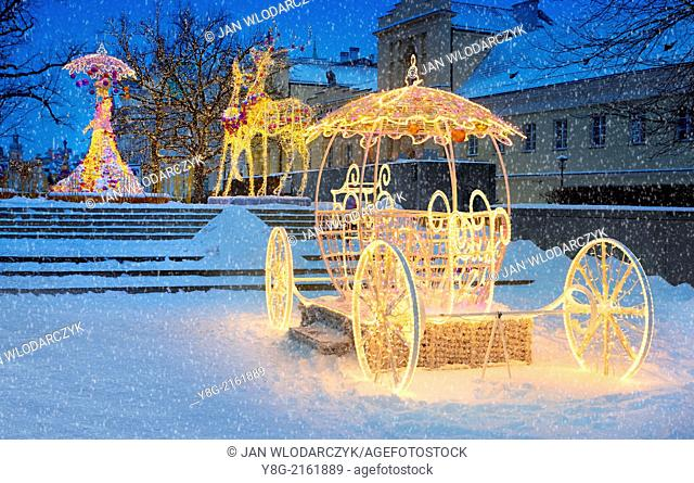 Outdoor Winter Christmas Decoration, Warsaw, Poland