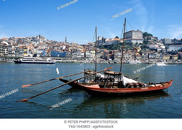 Oporto and the River Duoro and City with barges that were used to carry port down the river before shipping