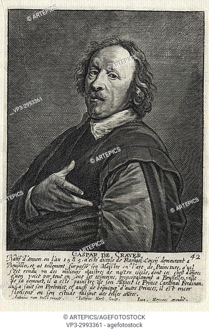 GASPAR DE CRAYER - Woodcut portrait and short biography (old french language) - Engraving 17th century