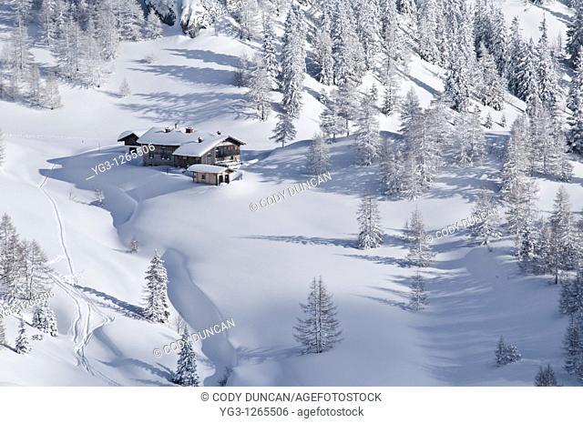 Schneibsteinhaus near Torrener Joch pass 1733m in winter viewed from Jenner, Berchtesgaden national park, Germany