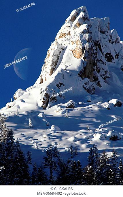 Big Moon rising in Dolomites in winter season, from Ciampedie, Val di Fassa, Province of Trento, Trentino Alto-Adige, Italy