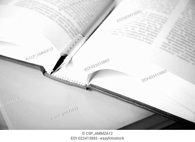 open book with pen black and white color tone style