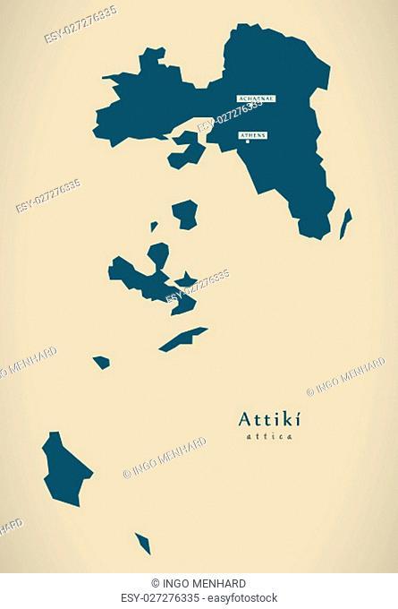 Modern Map - Attiki Greece GR illustration