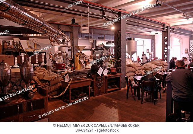 Cafe roasting its own coffee in the Speicherstadt warehouse district in Hamburg, Germany, Europe