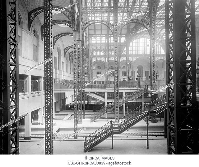 Track Level and Concourses, Pennsylvania Station, New York City, New York, USA, Detroit Publishing Company, 1910