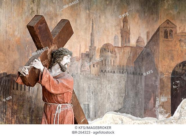 Stone christ figure carrying the cross, calvary of the Piaristenkirche, Krems, Wachau, Lower Austria, Austria