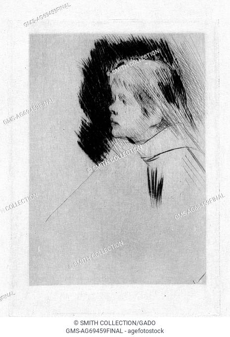 Drypoint (technique by which an image is incised into a plate) portrait of Catherine Cassatt as a young girl, by her mother, Mary Cassatt, 1882