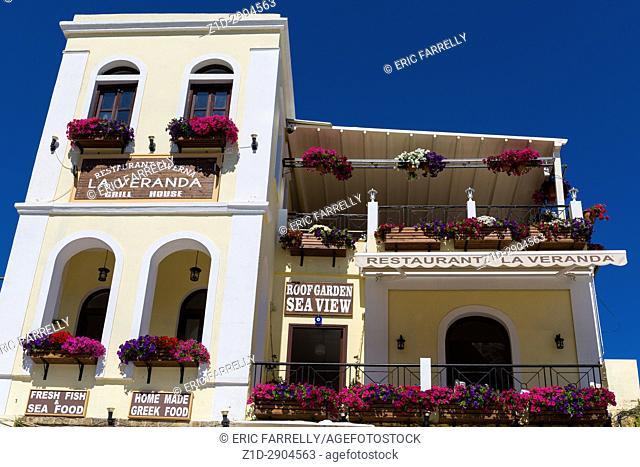 Restaurant balconies. Rhodes Greece