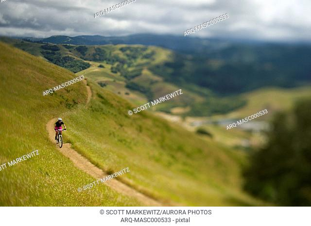 Mountain biker riding on trail in hills