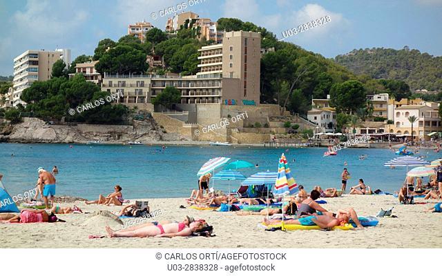 Summer tourists sunbathing in the coast of he majorcan municipality of Calvià. Majorca, Balearic islands, spain, europe