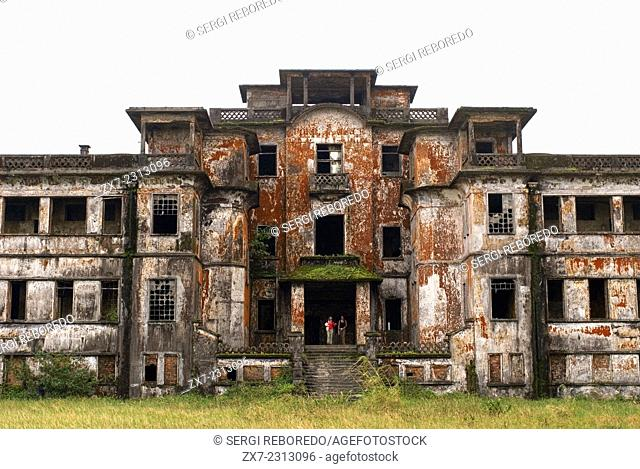 Abandoned church of the former hill station built by the French in the Bokor National Park. Bokor Hill Station. National park of Cambodia Phnom Bokor and the...