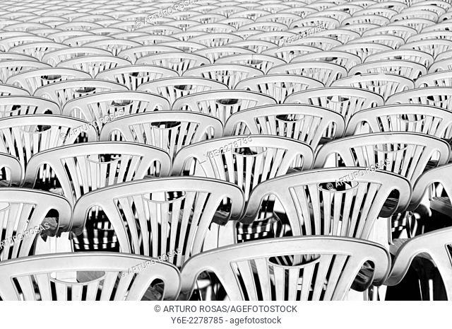 Empty chairs before the show. San Lorenzo de El Escorial, Madrid. Spain