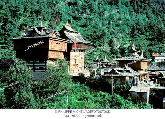 Hindu temple at Sarahan village. Kinnaur Valley, Himachal Pradesh. India