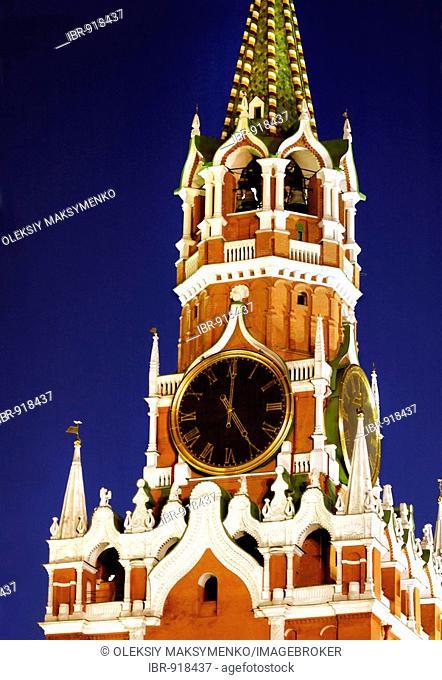 Chiming clock of Spasskaya Tower at night, Kremlin, Moscow, Russia