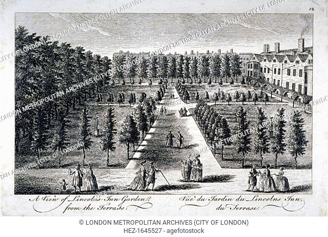 View of Lincoln's Inn Garden from the terrace, Holborn, London, c1750