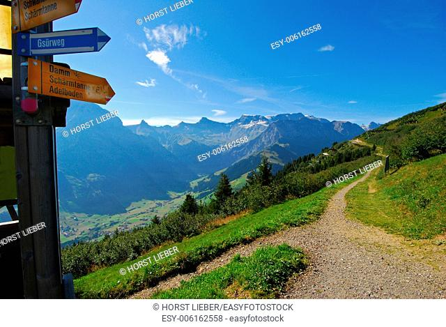 Signs and mountain trail in Adelboden, Switzerland