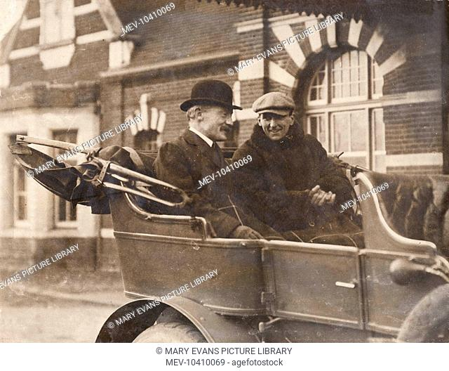 General Baden Powell and Charles Burgess Fry sitting in the back of an open car. At this time Fry (who is best remembered as a cricketer) had just taken command...