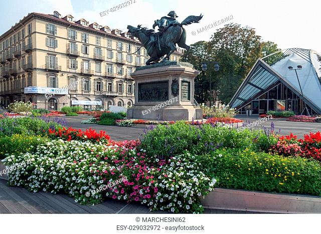 Cityscape of Turin downtown Piedmont Italy