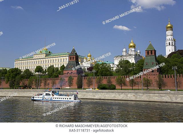 Tour Boat on Moscow River, Kremlin, UNESCO World Heritage Site, Moscow, Russia