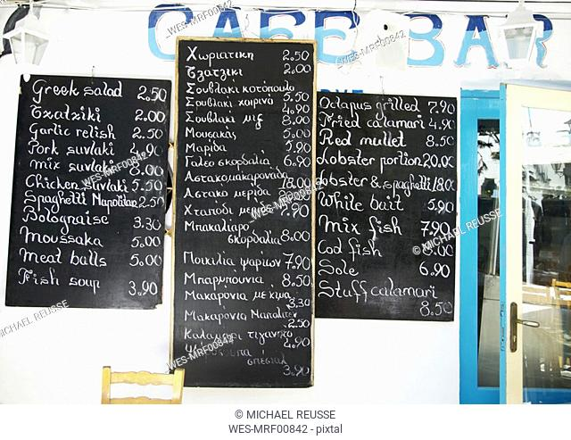Greece, Naxos, blackboard with food menus