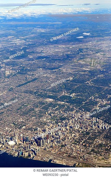 Aerial view of North York and downtown Toronto with highrise towers
