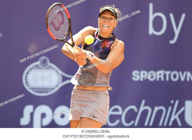 Czech Tennis player Lucie Hradecka (pictured) in action during the match against Katerina Stewart of USA in Advantage Cars Prague Open 2018 ITF Womens Circuit...