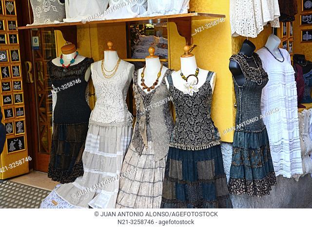 Vintage fashion shop. Burano, Venice, Veneto, Italy