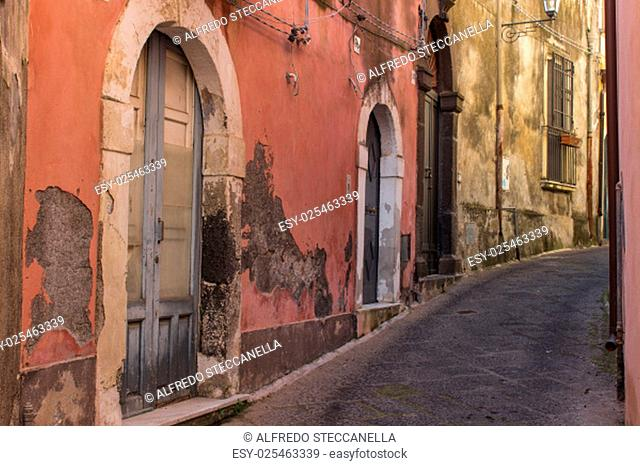 The old streets of acireale, catania, sicily