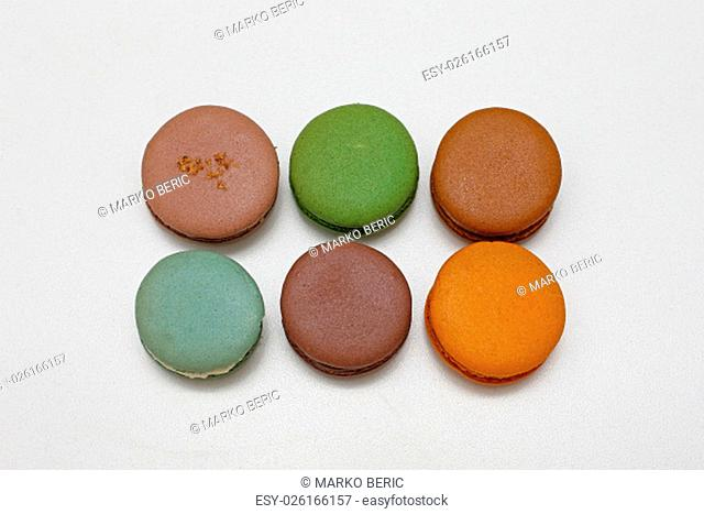 Six Colourful Macarons in Different Flavors