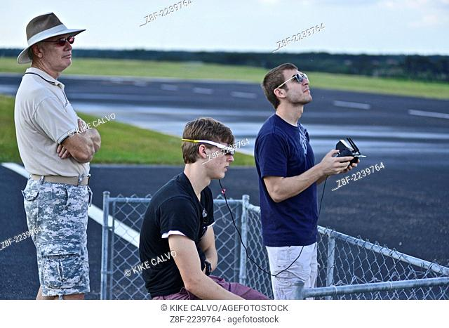 Students learn to fly drones using FPV or First Person View, at a small unmanned aircraft pilot training course at the Unmanned Vehicle University