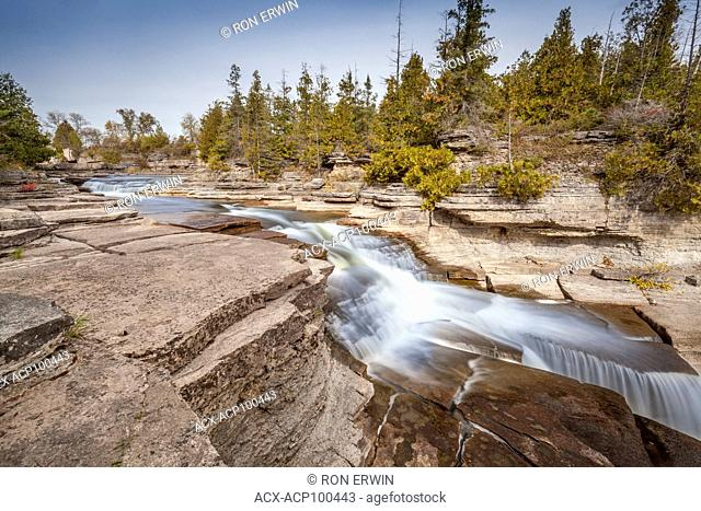 Block plunge type waterfalls on the Bonnechere River at Fourth Chute, Ontario, Canada