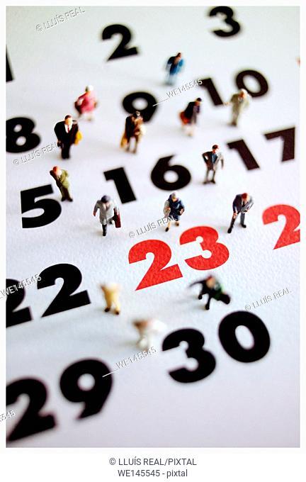 Figures on calendar