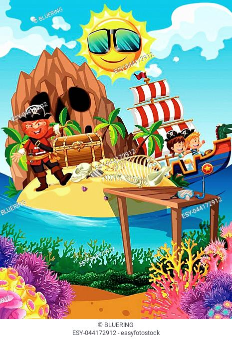 Pirate on an Island with treasure illustration