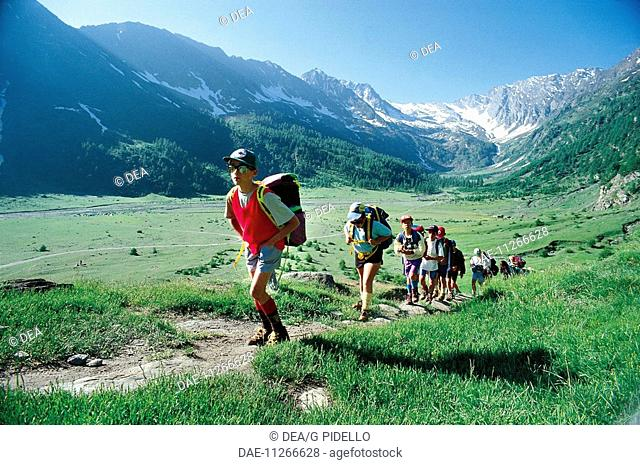 Italy - Piedmont Region - Pellice Valley - Kids taking a trip to the Cross Hill (Colle della Croce)