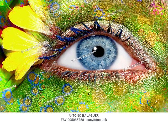 blue woman eye makeup spring flowers metaphor