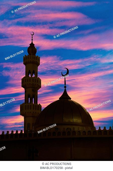 Silhouette of ornate spires and dome building, Abu Dhabi, Abu Dhabi Emirate, United Arab Emirates